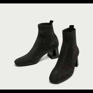 Zara Glitter Sock Style Mid Heel Ankle Booties